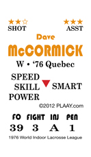 Dave McCormick, 1976 World Indoor Lacrosse League All-Star
