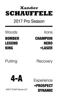 sample golfer card for 2017 Pro Season, HMG